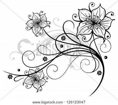 Filigree lilies with flowers, floral vector decoration.