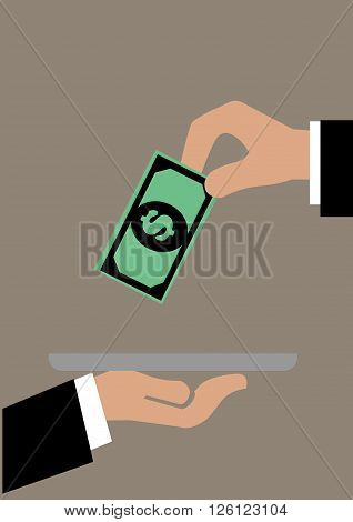 Vector illustration of a hand putting a dollar note onto a tray. Concept for customer service and tipping.
