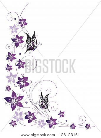 Purple flowers with butterflies, filigree and floral vector decoration.