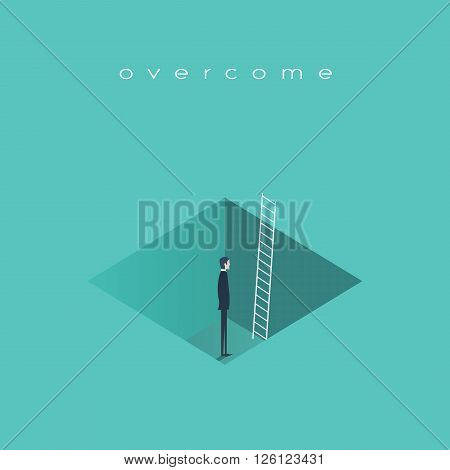 Business challenge concept with man standing in a hole with ladder. Finding solution, recover from crisis symbol. Eps10 vector illustration.