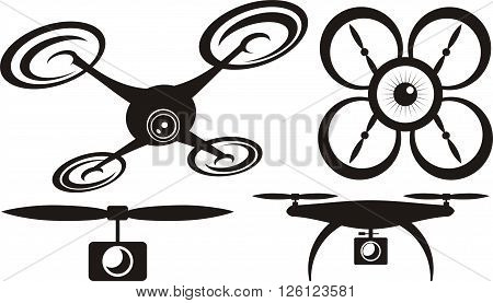 drone - vector icons of drones with camera