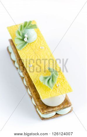 Millefeuille with pear ganache cream and fresh mint