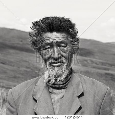 Senior Mongolian Solitude Traquil Rural Remote Concept