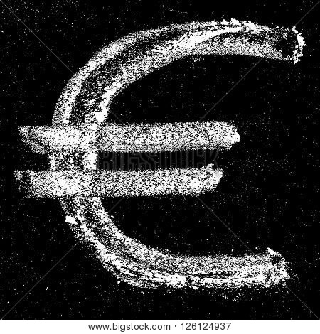 Hand-drawn Euro sign on chalkboard. Euro sign icon. Euro sign lettering