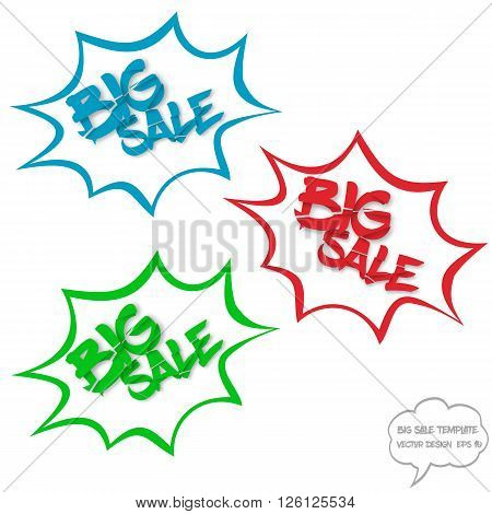 Big sale concept with comics bubbles and destroyed text on white background