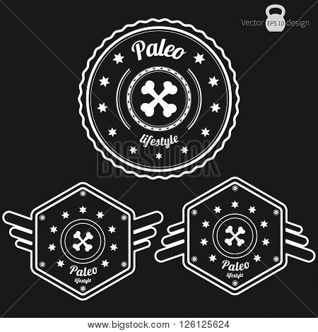 Vector set of three retro Paleo badges clean style white color on dark background