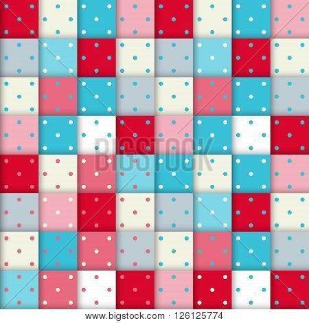 Checkered plaid pattern with small dots. Fashion geometric pattern in red and blue colors. Seamless vector background.
