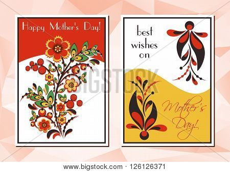 Greeting cards with Khokhloma floral ornament. Postcard in two variants for Women's Day Mother's Day Birthday Anniversary. Vector illustration