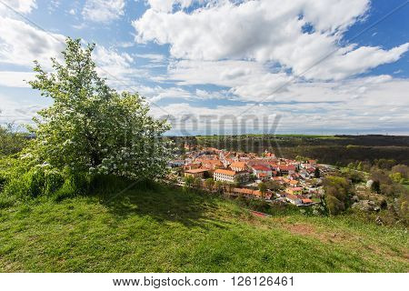 Moravsky Krumlov picturesque town in southern Moravia Czech Republic. Spring view during sunny day.