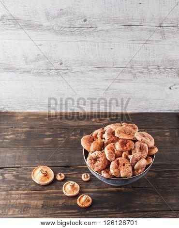 Saffron Milk Cap Mushrooms In Ceramic Bowl