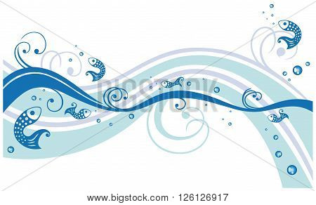 Maritime, vector waves with fishes, blue swirls.