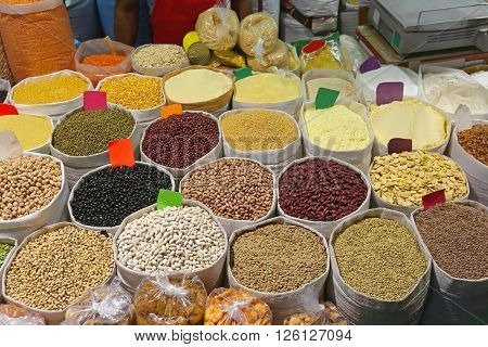 Legumes Beans and Grains Groceries in Bulk Bags at Market