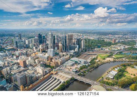 Melbourne, Australia - Mar 17, 2016: View of modern buildings in Melbourne CBD in daytime