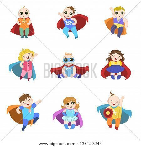 Babies Dressed As Superheroes Funny And Adorable Flat Isolated Vector Design Set On White Background