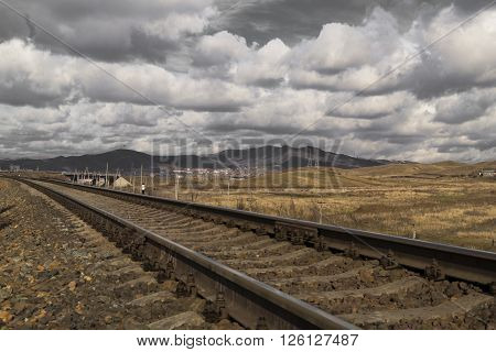 Railway, spring sky and the beautiful steppe