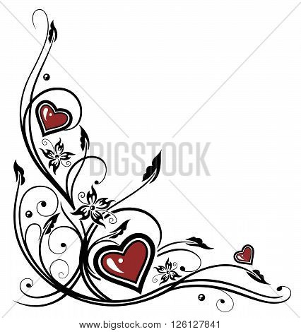 Red hearts with tendril, flowers and filigree leaves.