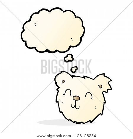 cartoon happy polar bear face with thought bubble