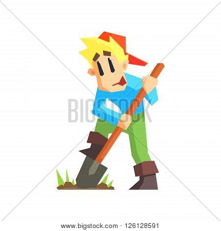 Boy Digging The Ground Primitive Geometric Cartoon Style Flat Vector Design Isolated Illustration