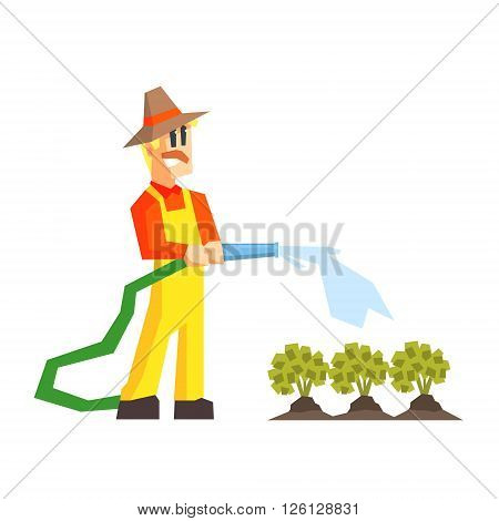 Man Watering The Garden Bed With Hose Primitive Geometric Cartoon Style Flat Vector Design Isolated Illustration