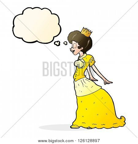 cartoon princess with thought bubble