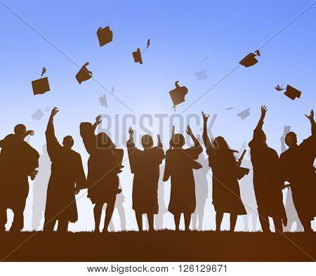 Group Of Diverse International Students Celebrating Graduation