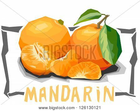 Vector simple illustration of tangerines with slices in angular cartoon style.