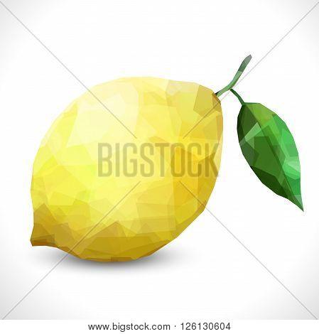 Realistic unusual polygonal isolated Polygonal fruit - Lemon. Modern vector editable template. New transparent lemon unusual illustration eps10