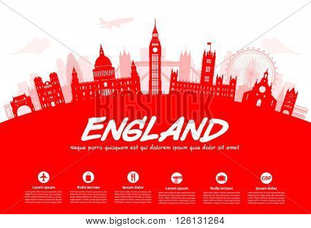 England London Travel Landmarks. Vector and Illustration