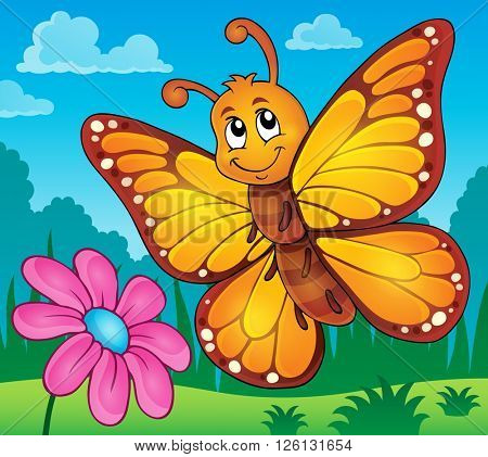 Happy butterfly topic image 2 - eps10 vector illustration.