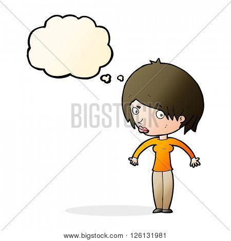 cartoon woman shrugging with thought bubble