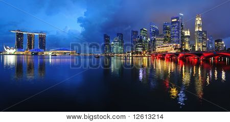 Singapore's financial district and Merlion Park