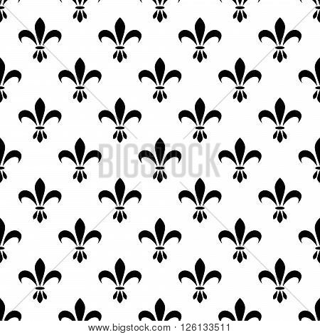 Fleur de lis seamless vector pattern. French vintage stylized lily flower luxury royal symbol. Monarchy iris sign black on white.