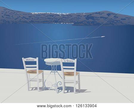 Two white chairs and trivet table stands on the caldera view tarrace at Santorini island Greece vector illustration