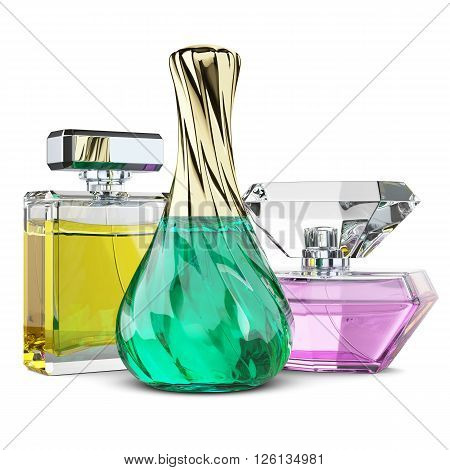 Group of perfume bottles cosmetics. Aroma water. Illustration 3d