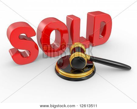 Gold Judge Gavel And Inscription Sold