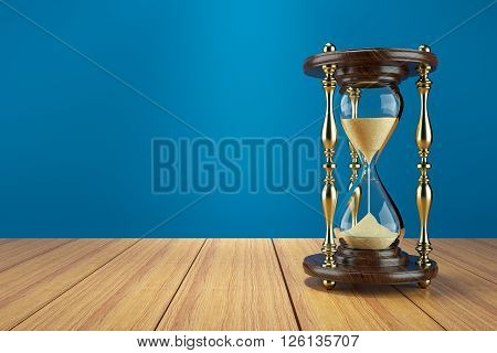 Hourglass retro on wooden table. Concept 3d illustration