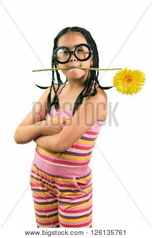 Portrait Of Young Cute Girl With Sunflower In Her Mouth