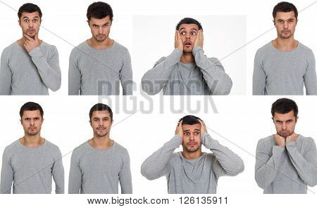 Portraits with different emotions of a young man.
