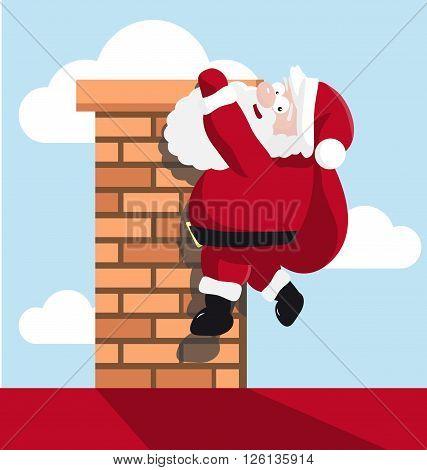 Santa hanging on the chimney. vector illustration