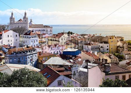 View of Alfama from Castle in Lisbon Portugal