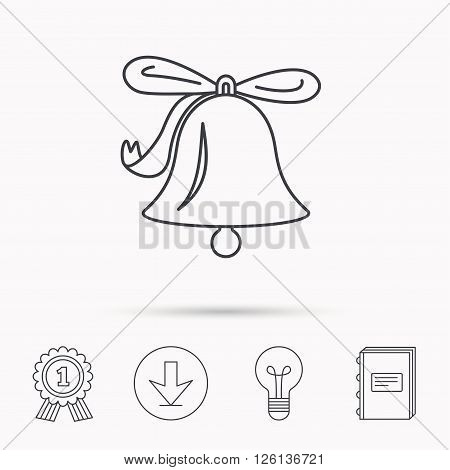 Ringing jingle bell icon. Sound sign. Alarm handbell symbol. Download arrow, lamp, learn book and award medal icons.