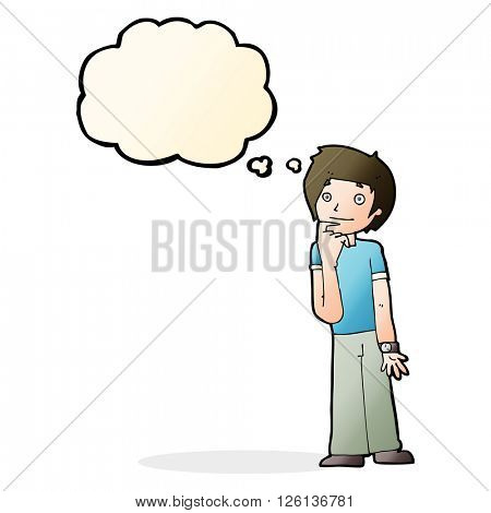 cartoon boy wondering with thought bubble