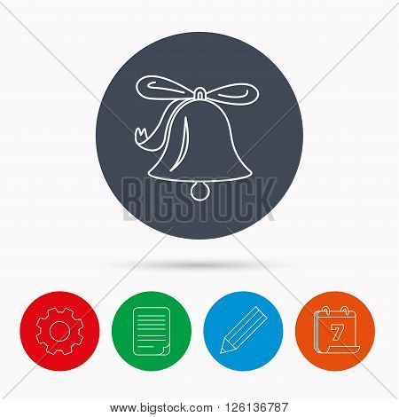 Ringing jingle bell icon. Sound sign. Alarm handbell symbol. Calendar, cogwheel, document file and pencil icons.