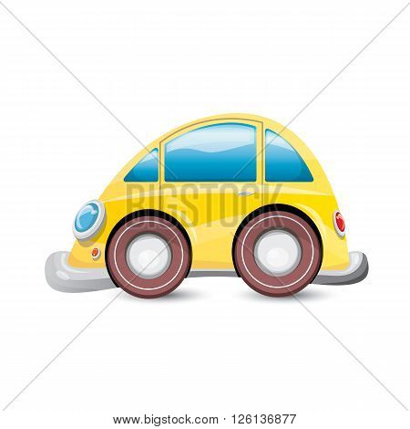 funny vector cartoon orange car isolated on white