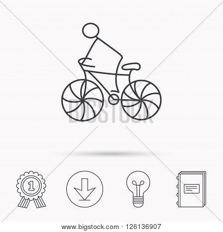 Biking sport icon. Bicycle race sign. Professional cyclist symbol. Download arrow, lamp, learn book and award medal icons.