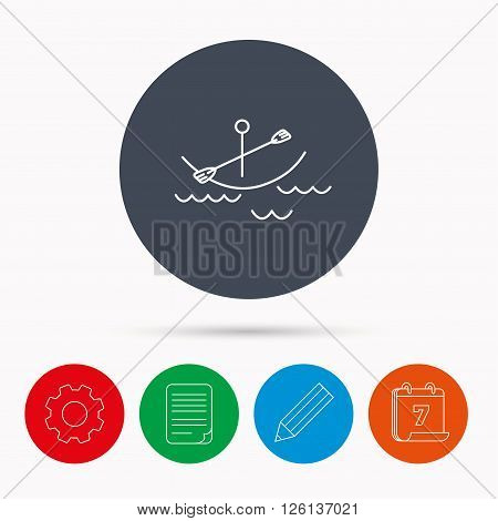 Kayaking on waves icon. Boating or rafting sign. Canoeing extreme sport symbol. Calendar, cogwheel, document file and pencil icons.