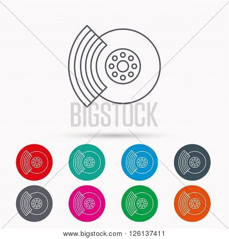 Brakes icon. Auto disk repair sign. Linear icons in circles on white background.
