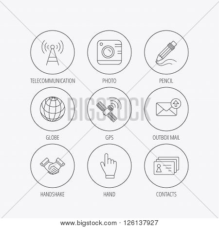 Handshake, contacts and gps satellite icons. Pencil, photo camera and mail linear signs. Telecommunication station flat line icons. Linear colored in circle edge icons.
