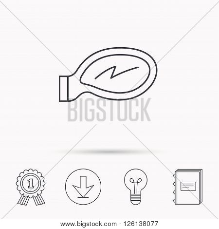 Car mirror icon. Driveway side view sign. Download arrow, lamp, learn book and award medal icons.