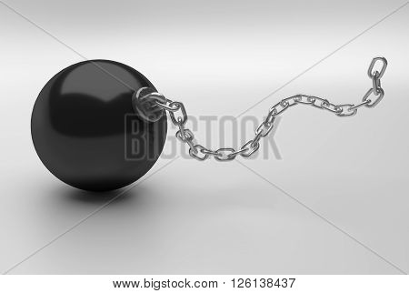 heavy black ball with long iron chain 3D Rendering
